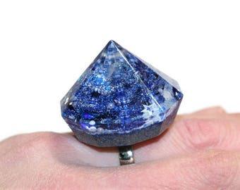 Huge Diamond Spike Ring Oversized Statement Ring Blue Silver Holographic Hardcore Punk Rock Ring