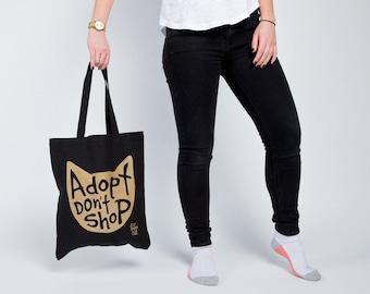 Cat Tote Bag, Adopt Don't Shop Metallic Gold Screen Printed Black Canvas Market Bag, Reusable and Machine Washable