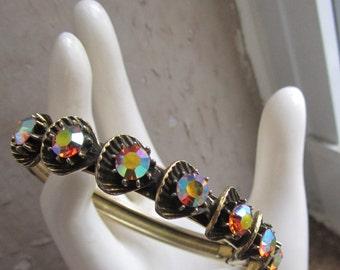 Vintage 1960s Florenza - Aurora Borealis - Rhinestone Bangle Bracelet - etched bracelet - EPSTEAM - mid-century Hollywood Glam - gold bangle