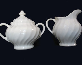 Scio China - White Swirl with Scalloped Edge - Fluted  Creamer and Sugar with Lid Set