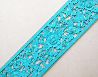 Balinese Wood Carving - Long Lotus Rectangular Panel in Aquamarine