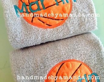 Basketball applique + Player name Monogram Hand Towel SET OF 2  - Monogrammed Sports Hand Towel Set - Team Gift