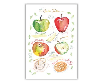 Kitchen poster, the Tatin pie recipe Illustration watercolor apples, culinary Art