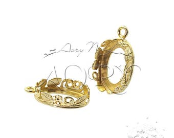 1pcs Brass Flowers and Leaves Crown Bezel Setting for 14x10mm Oval Shape Cabochon, 1209BR, Shiny Brass Color, Made in Israel