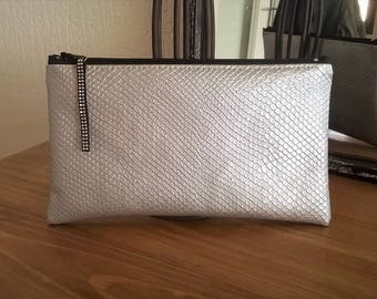 Faux leather clutch, silver, accessory pouch, gift