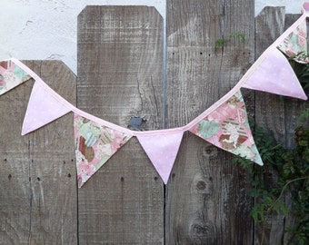 Whimsical Sweet Valentines Day Bunting REVERSIBLE Shabby Chic OOAK
