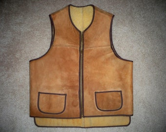 Vintage Sheepskin Shearling Brown Western Distressed Leather Chopper Vest Size Medium
