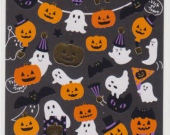 Halloween Stickers - Pumpkin Stickers - Ghost Stickers - Gold Trim - Reference T4740-42