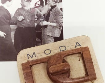 """Vintage wooden buckle 1940-1950, CM 7.5 x 4 cm (2.95 """"x 1.57"""").  Made in Italy, free shipping"""