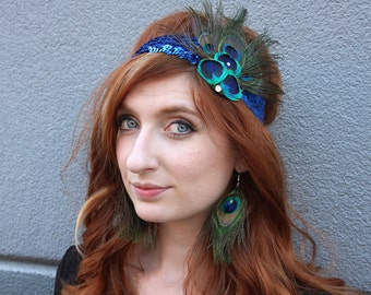 Mardi Gras Halloween Peacock Feather Flapper Headdress Costume Piece - Sapphire - READY TO SHIP