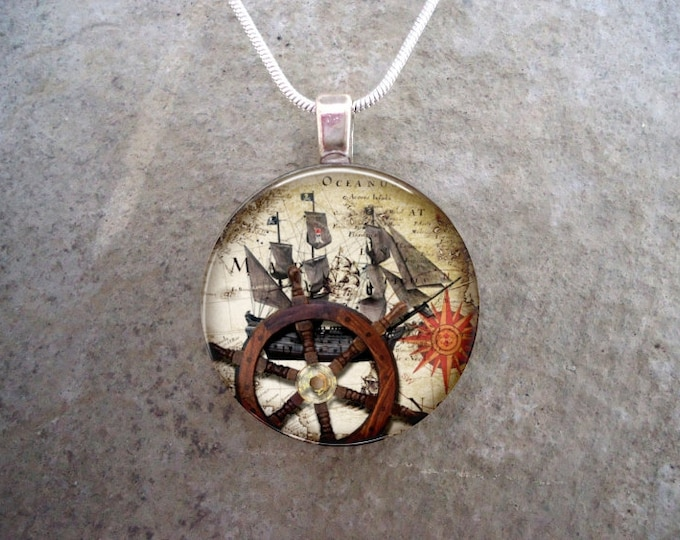 Pirate 24 - Cosplay Pirate Jewelry - Glass Dome Pendant Necklace