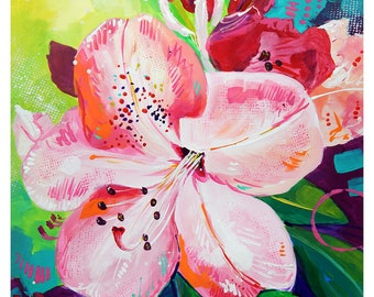 """Pink Rhododendron - Original colorful traditional acrylic painting on paper 8.5""""x11"""""""