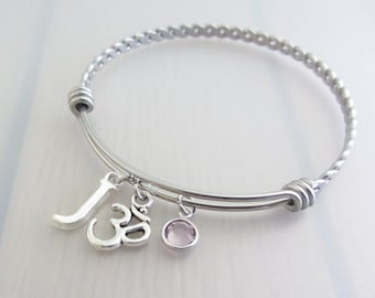 Om Charm Stainless Steel Bangle, Birthstone Initial Bangle, Personalised Silver Letter Charm Bracelet, Ohm Bangle, Aum Bangle, Yoga Gift