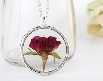 real flower rose genuine resin glass pendant necklace floral pagan nature