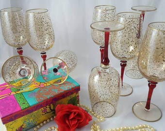Libbey's Wine Glasses, Set of 9, Clear Glass & Gold Vines, Ruby Glass Stem ~ Vintage 1980's
