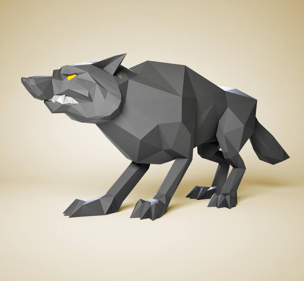 Papercraft wolf diy paper sculpture paper model 3d paper zoom jeuxipadfo Image collections