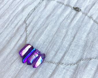Purple Aura Quartz - Purple Quartz Necklace - Purple Quartz Jewelry - Quartz Necklace - Purple Crystal Necklace - Purple Necklace - Choker