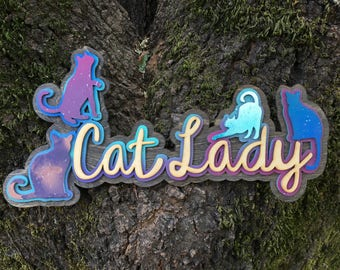 Laser Cut Wood Cat Lady with Space Cats One of a Kind Sign