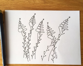 A5 ink pen drawing, flowers, abstract, gift, black on white,