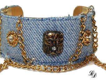 Cuff bracelet, with vintage adornments, upcycled jeans, unique, womans, boho, rocker, bohemian, elegant, rocker, stylish, Free shipping