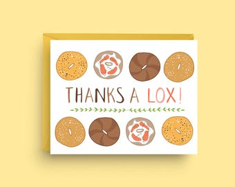 Thank You Card, Bagel Card, New York Card, Foodie Card, Card for Him, Funny Thank You Card, Just Because Card, Hipster Card, Bread Card