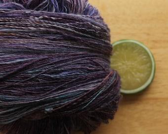 RESERVED Amethyst Evening  - Handspun Merino Wool Silk Yarn Pink Berry Plum Lace