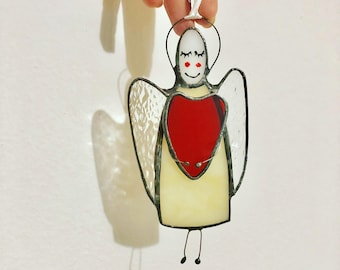 Angel suncatcher, decorated Angel with heart, Large White Angel suncather, White stained glass angel, Stained Glass Suncatcher Angel Heart