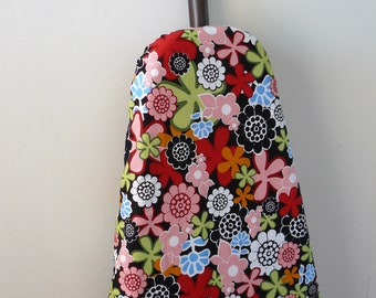 Ironing Board Cover - bright bold colourful flowers red pink green blue black