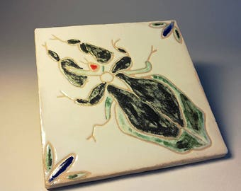 Insect tile in a rustic handmade tile, Portuguese decorative tile, praying mantids, READY TO SHIP