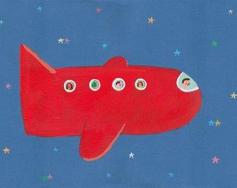 Red Airplane canvas print , home decor, wall decor, wall art, nursery design