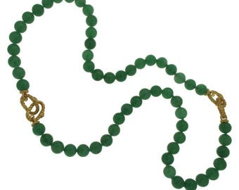 Judith Ripka 925 Silver 18k Plated Chalcedony Bead Bracelet Necklace