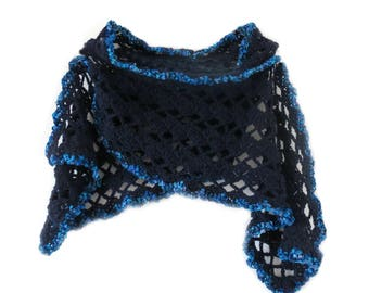 "Navy Blue CROCHET SCARF (60"" x 8"")"