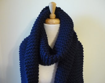 Extra Long Scarf Chunky Knit Scarf Unisex Scarf Mens Scarf Womens Scarf Warm Winter Scarf Navy 10 x 80 - Ready to Ship - Direct Checkout
