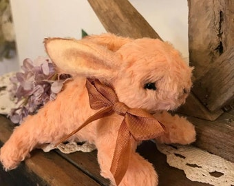 Peach Viscose Mohair Bunny Rabbit