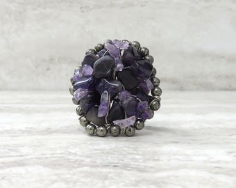 Purple Amethyst Ring- Large Round Chunky Ring Wire wrapped Purple Amethyst ( Sample sale size 6 & 7) Fun ring
