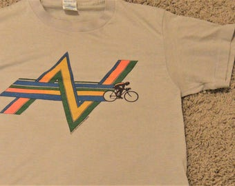 """Vintage Bicyclist Racing T shirt,Vintage Chest 32""""  34"""" Small,Skinny tee,Signed 1980, Men's,Woman's,Thin worn,Sports,Athletic Top"""