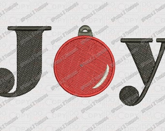 Joy Christmas Ornament Embroidery Design in 2x2 3x3 4x4 and 5x5 Sizes