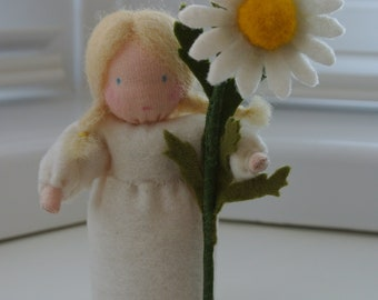Marguerite flower fairy in Steiner Waldorf style