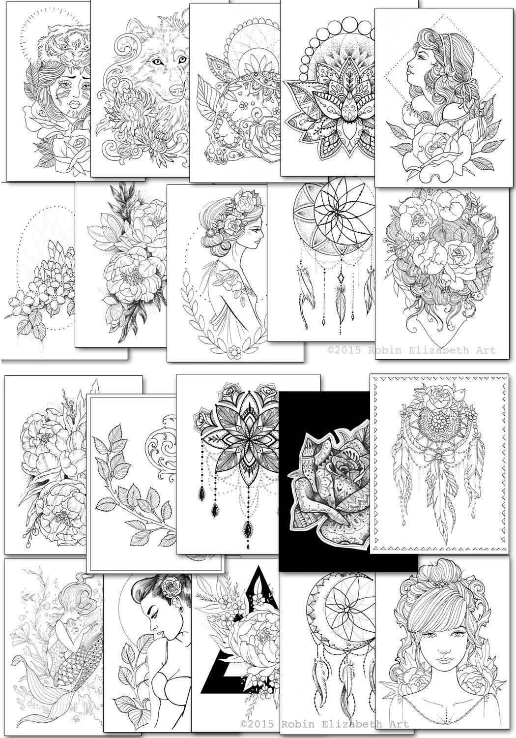 Adult Coloring Book - Floral Tattoo -DIGITAL Download PDF from ...