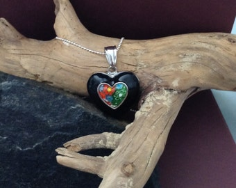 Heart necklace, glass heart pendant, valentine gift, vintage pendant, long necklace, long glass chain, Italian glass pendant , hippie chain