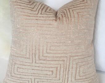 Beige & Rose Gold Throw Pillow w/ Geometric Pattern and Brass Zipper - metallic pillow