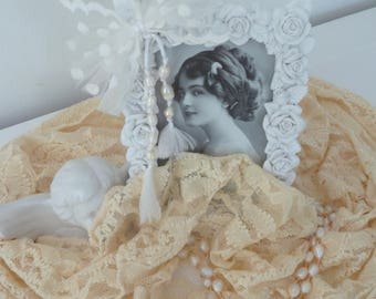 Vintage birthday picture frame rose tulle freshwater pearls romance wedding Edwardian style country house style boudoir