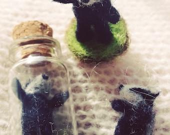 Needle Felt Badger felted miniature in a tiny glass bottle woodland animal