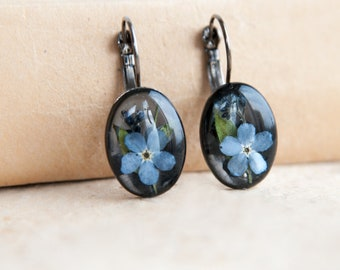Forget-me-not Flower Dangle Earrings   Sympathy gift mother   Blue Forget me not memorial gift   Resin remembrance gift