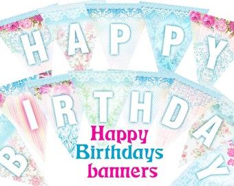 Happy birthday Shabby Chic Banner romantic blue pastel Printable  - set of 5 sheets (443)