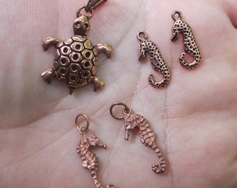 Solid Copper Seahorse, or Turtle Charm