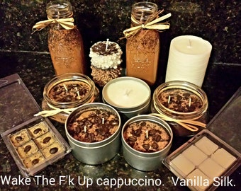 Wake The F'k Up-Cappuccino soy candle with Cafe Bustelo