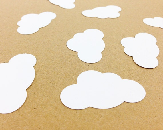 25 White Cloud Die Cuts Punches Cardstock 1-7/8 Inch-  Wedding, Birthday, Bridal Shower, Baby Shower, First Birthday