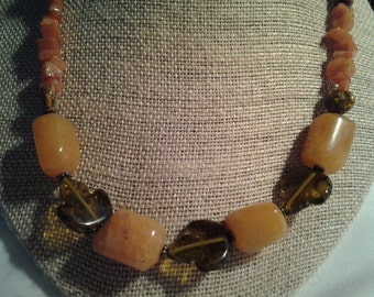 Vintage Necklace Natural Stone Wood Sterling Silver