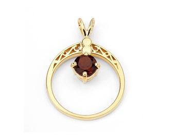 14K Yellow Gold Circle Birthstone Ring or Pendant, Gold Ring, Birthstone Ring, Gold Pendant, Birthstone Pendant, Birthstone Jewelry